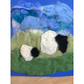 We felted the sheep we saw on our walk