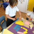 We made snails from shapes like Matisse's snail