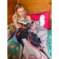 Poppy made a cosy reading den in her garden shed.