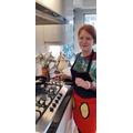 Laura making some tasty pancakes.