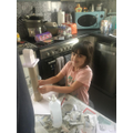 Olivia's busy making her lighthouse- Oak class