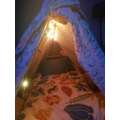 A super, snuggly den to sleep in constructed by Jago.