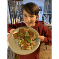 Harry made and garnished some delicious looking pancakes!