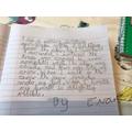 Evan's Snowflake writing