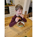 Arthur eating lunch after following his Instructions