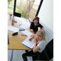 Alys and Betsi working hard