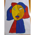 Ajai's Picasso-style portrait inspired by the daily art videos
