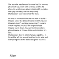 Alice's biography on Shakespeare
