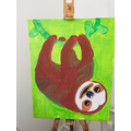Eleana painted this fabulous sloth hanging from a vine!