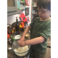 Busy with the flour