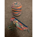 Sylvie's multi-coloured knitting