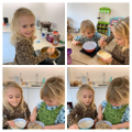 Bella very busy making delicious flapjacks.