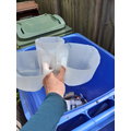 Put the other half in your blue bin to be recycled