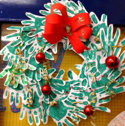 Handprint artwork to create a Christmas wreath