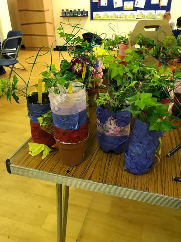 Beautifully decorated flower pots