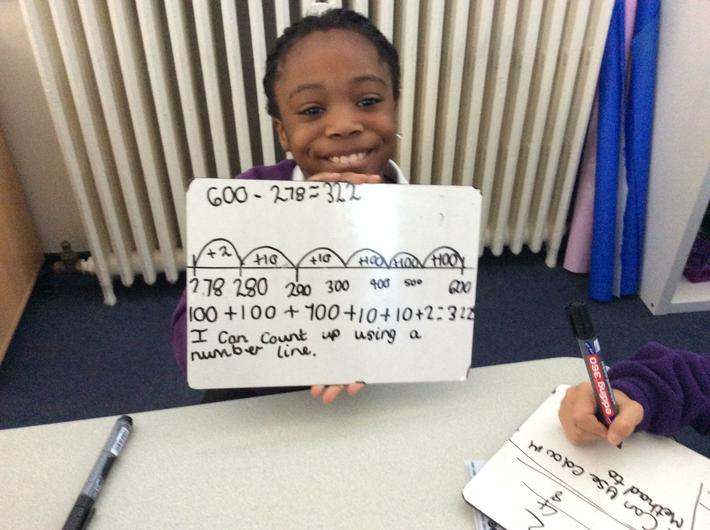 Subtracting using the counting up strategy.