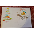 What a beautiful snowman and Christmas tree by Ella