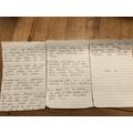 Aidan's wonderfully neat writing