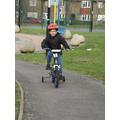 Tyreece is enjoying a bike ride