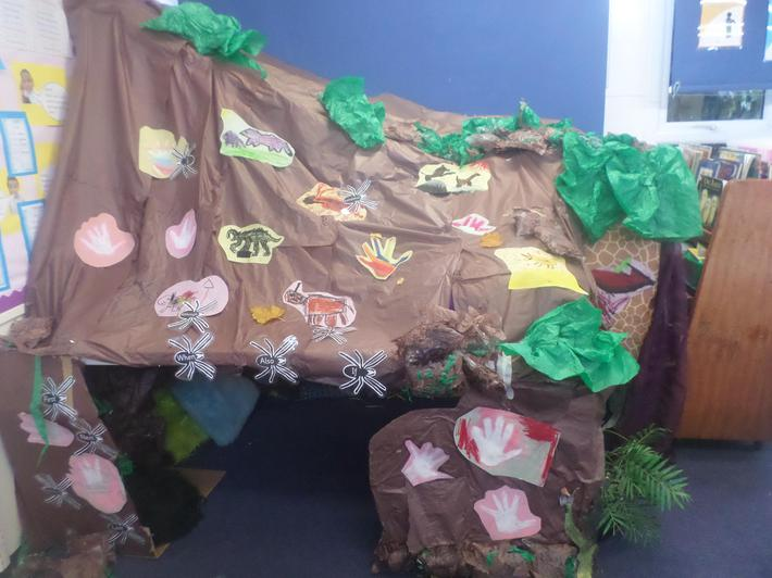 We have made a cave in our classroom.