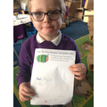 I remembered some of the foods The Hungry Caterpillar ate and wrote them! Great work!