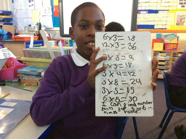 Number facts for 3 times and 6 times table
