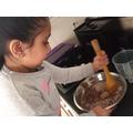 making a yummy chocolate cake