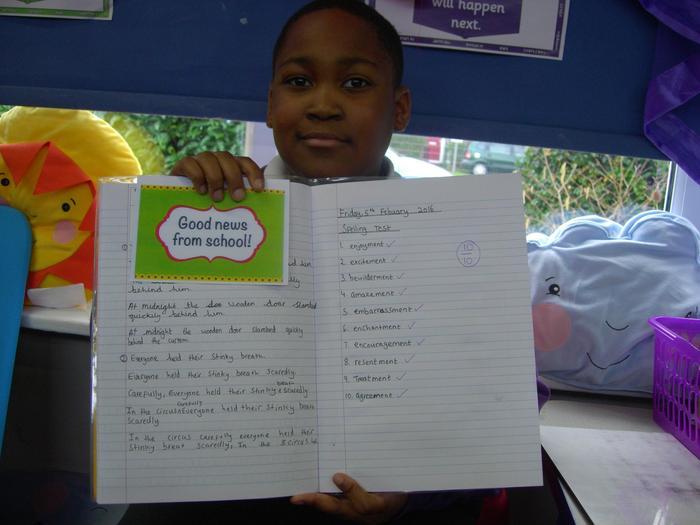 Praise - best speller of the week in Earth class!