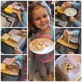 making her bear snack- yummy!