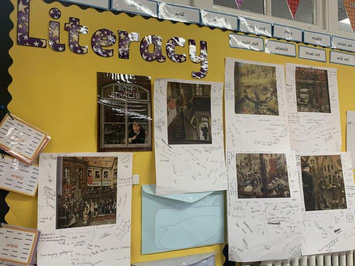 Our Literacy working wall, Rose Blanche
