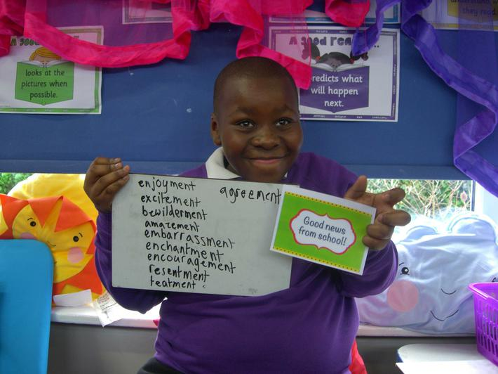 Jamari - best speller of the week in Earth Class!