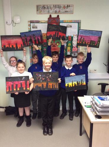 Mr Ivel's class enjoyed creating cityscapes using acrylic paint.