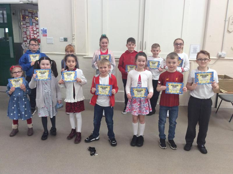 Reception, Years 1 & 3 recieved class certificates