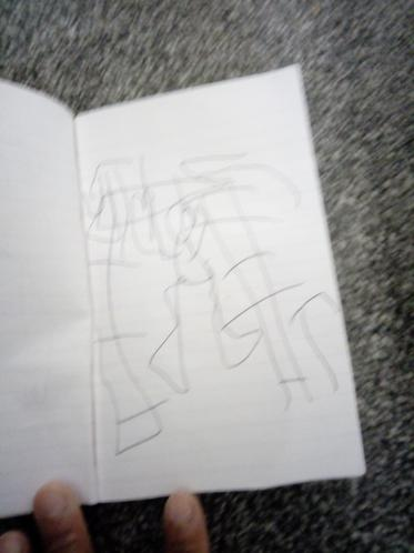 Abdullah has drawn a swing and the monkey bars.