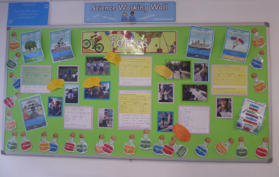 Y5 Science working wall on Forces