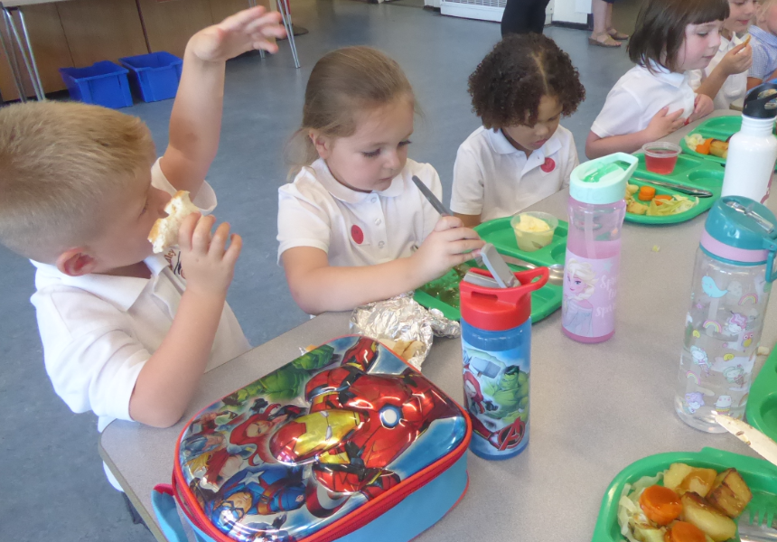 Donaldson class pupils first lunch at school Sept 21