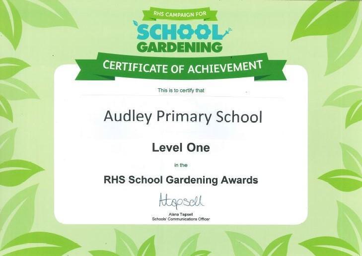 RHS School Gardening Awards Level 1 2017