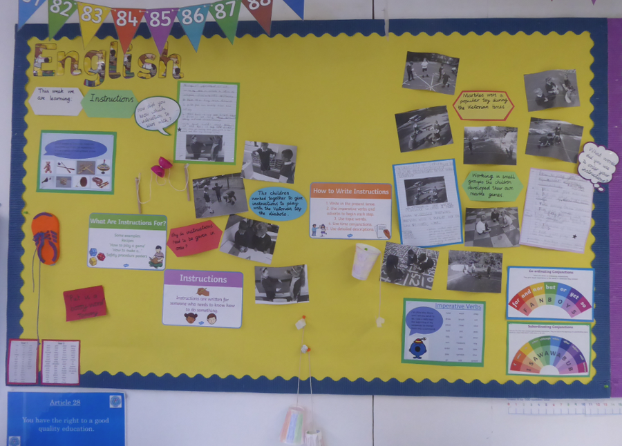 Y2 English working wall on instructions