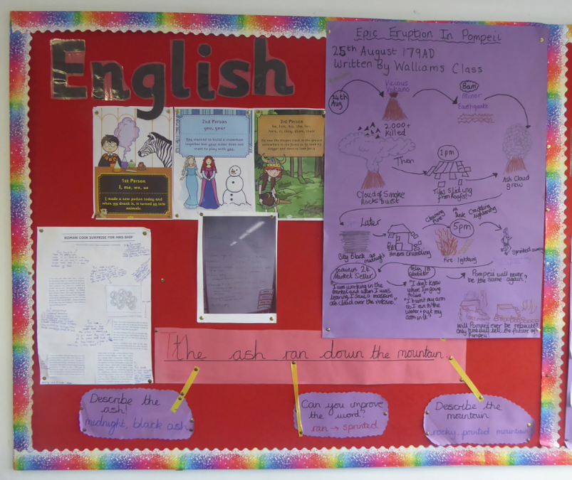 Y4 English working wall – newspaper articles
