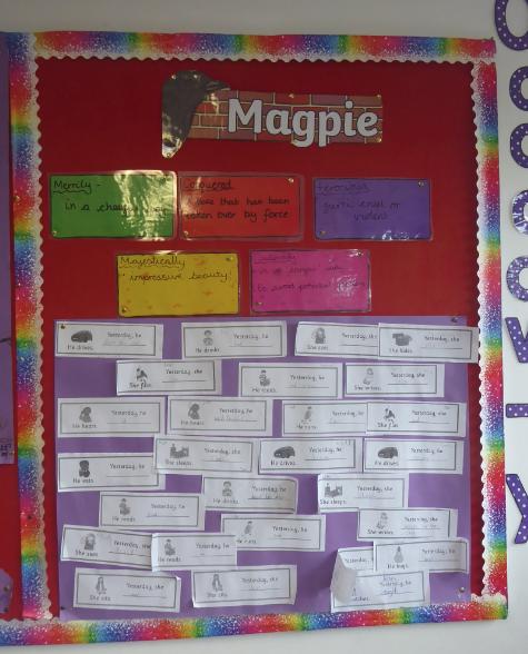 Y4 English working wall – magpie board