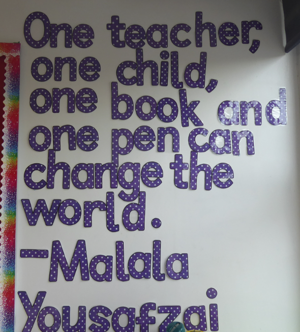 Y4 Motivational quote display