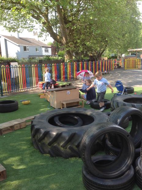 We enjoy climbing on the tyres.