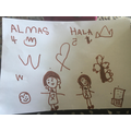 Almas drew a picture of herself & her friend Hala