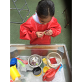 Making healthy plum soup in the water tray