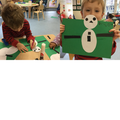 We used 2D shapes to make snowmen!