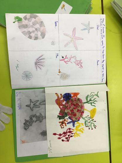 Example of Year 6 preliminary sketches for a water colour inspied by Yellanda James