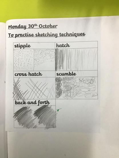 Example of Year 3 sketching techniques