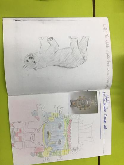 Example of Year 3 sketch book with observational drawings
