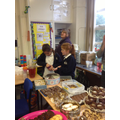 Manning the cake stall