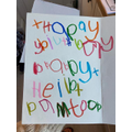 Heidi has written a card. Lovely writing Heidi!